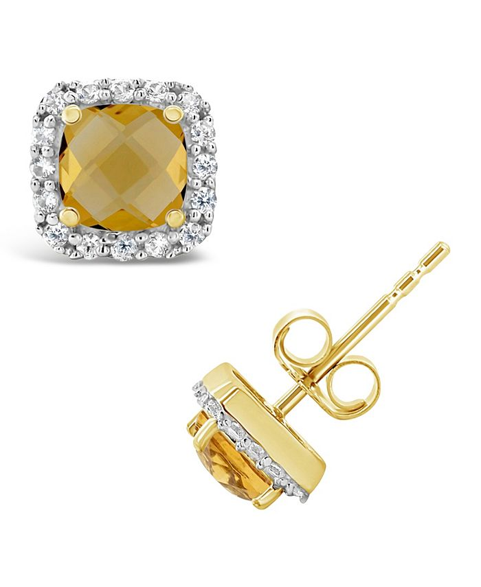 Macy's - Citrine (1 ct. t.w.) and Created White Sapphire (1/5 ct. t.w.) Halo Stud Earrings in 10k Yellow Gold