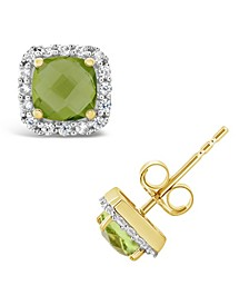 Peridot (1-1/5 ct. t.w.) and Created White Sapphire (1/5 ct. t.w.) Halo Stud Earrings in 10k Yellow Gold