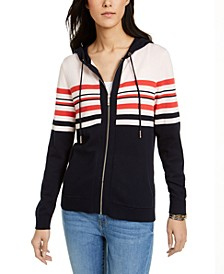 Cotton Striped Hoodie Sweater