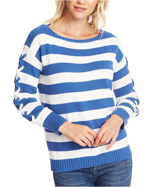 CeCe Striped Boat-Neck Sweater