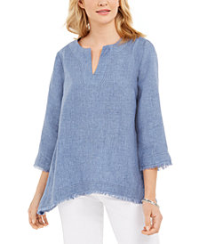 Charter Club Petite Linen Frayed-Hem Top, Created for Macy's
