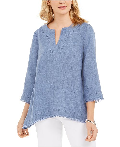 Charter Club Frayed-Hem Linen Top, Created for Macy's