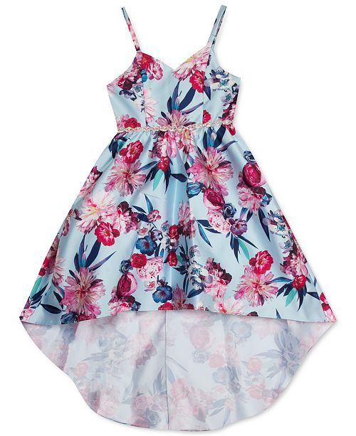 Rare Editions Big Girls Floral-Print High-Low Dress