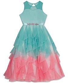 Little Girls Ombré Glitter Mesh Dress