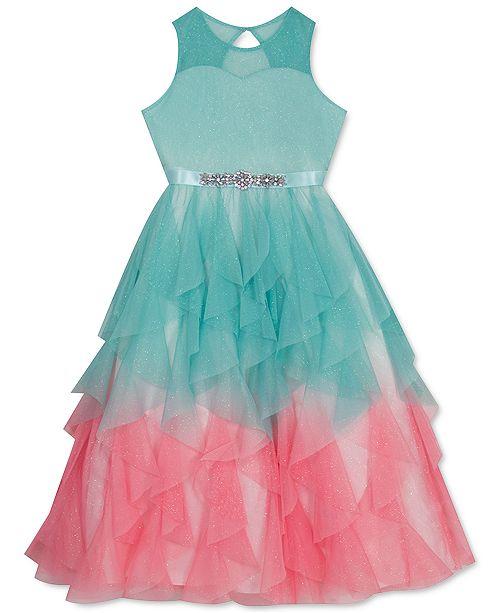 Rare Editions Toddler Girls Ombré Glitter Mesh Dress