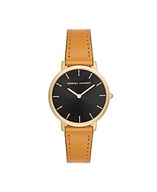 Womens Major Camel Leather Strap Watch 35MM