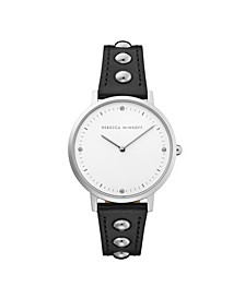 Womens Major Black Studded Leather Strap Watch 35MM