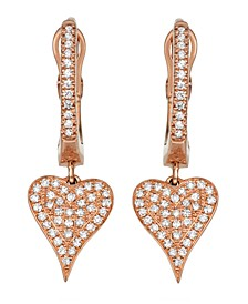 Diamond (1/5 ct. t.w.) Heart Earrings in 14K Rose Gold