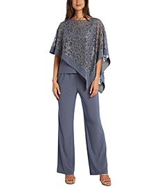 2-Pc. Sequinned Poncho & Pants Set