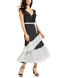 Dot-Print Faux-Wrap Maxi Dress