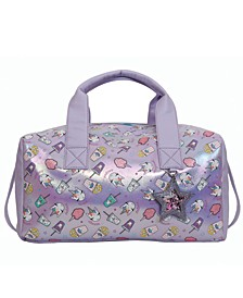 Miss Gwen's Unicorn Snacks Metallic Duffle Bag