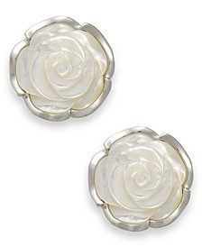 Sterling Silver Earrings, Mother of Pearl Flower Earrings
