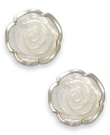 Sterling Silver Earrings, Mother of Pearl Flower Earrings