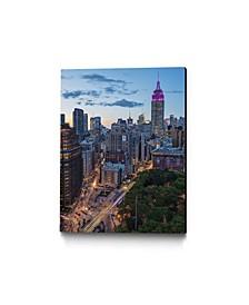 "14"" x 11"" Manhattan Skyline at Twilight Museum Mounted Canvas Print"