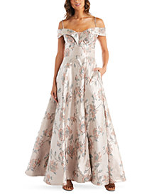 Nightway Floral-Brocade Cold-Shoulder Illusion Ball Gown
