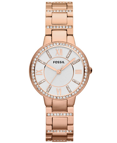 Fossil Women's Virginia Rose Gold-Tone Stainless Steel Bracelet Watch 30mm ES3284