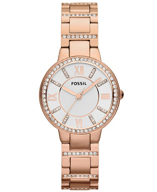 48ec73c16d1 Fossil Women s Virginia Rose Gold-Tone Stainless Steel Bracelet Watch 30mm  ES3284 ...