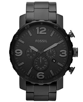 Fossil Men's Chronograph Nate Black-Tone Stainless Steel Bracelet Watch 50mm JR1401 - Watches - Jewelry & Watches - Macy's