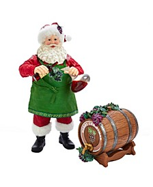 10.5-Inch Fabriché™ Wine Santa and Barrel, 2 Piece Set