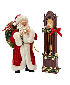 12-Inch Fabriché™ Santa and Clock, 2 Piece Set