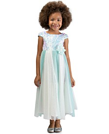 Little Girls Sequined Tulle Gown