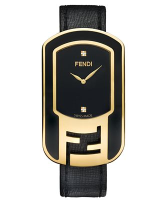 Fendi Timepieces Watch, Women's Swiss Chameleon Diamond Accent Black Leather Strap 49x29mm F311431011D1