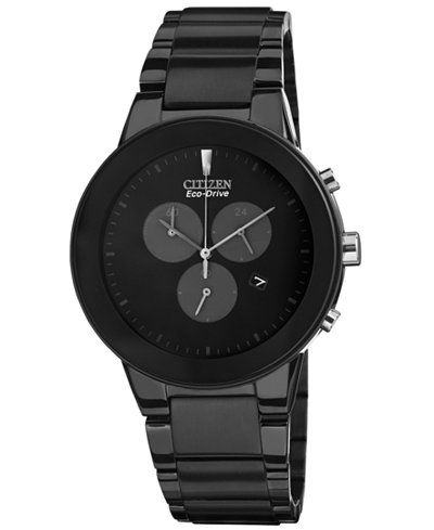 Citizen Men's Chronograph Eco-Drive Axiom Black Ion-Plated Stainless Steel Bracelet Watch 43mm AT2245-57E