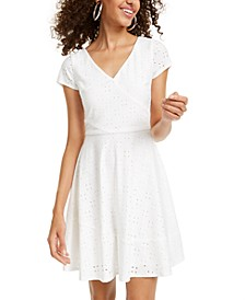 Juniors' Eyelet A-Line Dress