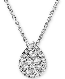 "Lab Created Diamond Pear Cluster 18"" Pendant Necklace (3/8 ct. t.w.) in Sterling Silver"