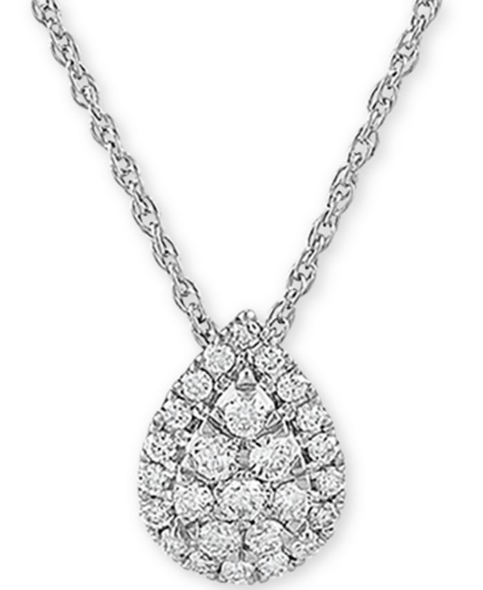 """Forever Grown Diamonds - Lab-Created Diamond Pear Cluster 18"""" Pendant Necklace (3/8 ct. t.w.) in Sterling Silver"""