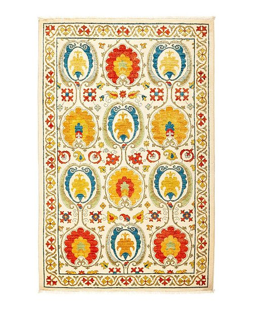 "Timeless Rug Designs CLOSEOUT! One of a Kind OOAK1314 Ivory 4'1"" x 6'4"" Area Rug"