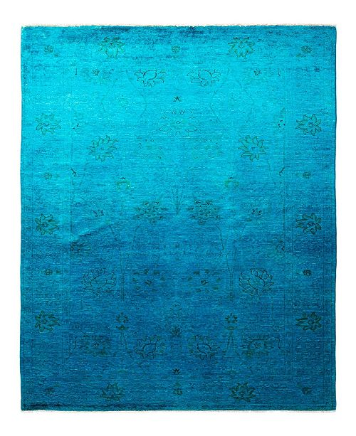 """Timeless Rug Designs CLOSEOUT! One of a Kind OOAK1913 Turquoise 5'1"""" x 7'10"""" Area Rug"""