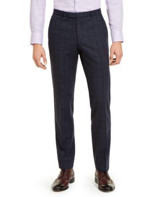 Hugo Boss Men's Classic-Fit Stretch Dark Blue Plaid Suit Pants