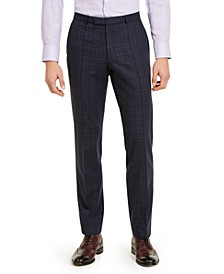 Hugo Boss Men's Classic-Fit Stretch Dark Blue Plaid Suit Pants
