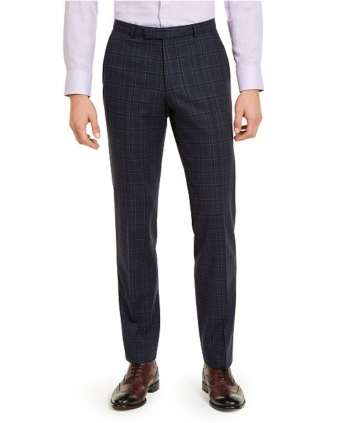 HUGO Hugo Boss Men's Classic-Fit Stretch Dark Blue Plaid Suit Pants