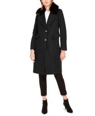 Single-Breasted Faux-Fur Walker Coat
