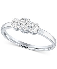 Lab Grown Diamond Cluster Ring (1/4 ct. t.w.) in Sterling Silver