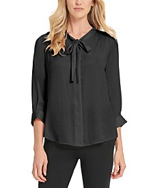 Button-Up Tie-Neck Blouse