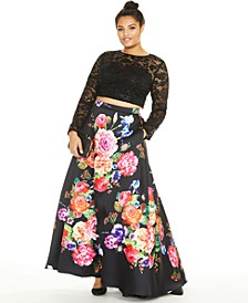 Trendy Plus Size 2-Pc. Sequined Lace & Floral-Print Gown, Created for Macy's