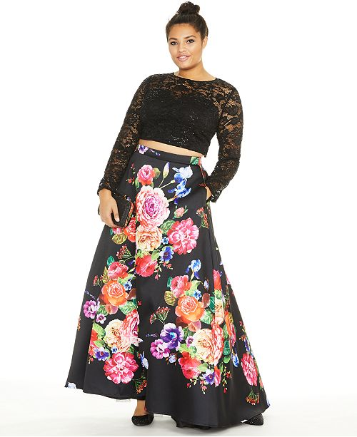 Trendy Plus Size 2-Pc. Sequined Lace & Floral-Print Gown, Created for Macy\'s
