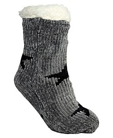 Women's Chenille Star Lounge Sock, Online Only