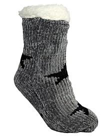 Women's Chenille Star Lounge Sock, Online Only