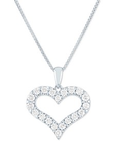 "Lab Grown Open Heart 18"" Pendant Necklace (1/2 ct. t.w.) in Sterling Silver"