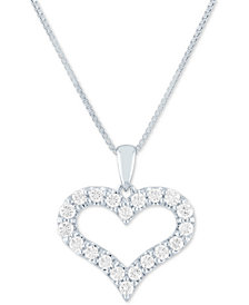 """Forever Grown Diamonds Lab Grown Open Heart 18"""" Pendant Necklace (1/2 ct. t.w.) in Sterling Silver"""