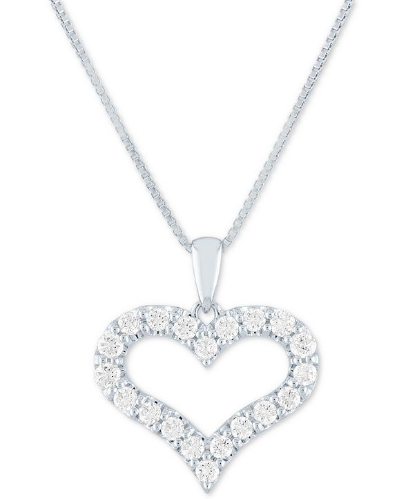 "Forever Grown Diamonds Lab Grown Open Heart 18"" Pendant Necklace (1/2 ct. t.w.) in Sterling Silver"