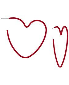 """Medium Heart Hoop Earrings, 2"""""""