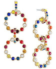 Gold-Tone Multicolor Crystal & Stone Circle Drama Drop Earrings