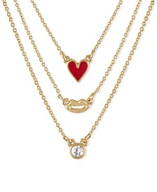 "Gold-Tone 3-Pc. Set Heart, Lips & Stone Pendant Necklaces, 17"" + 2"" extender"
