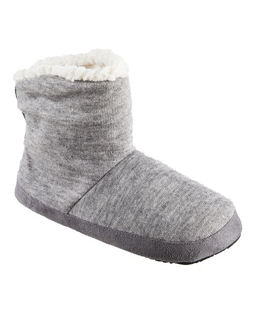 Isotoner Signature Isotoner Microsuede & Heathered Knit Marisol Boot Slipper, Online Only