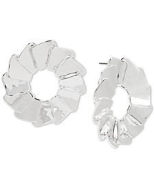 Overlapping Sculptural Square Round Stud Earrings